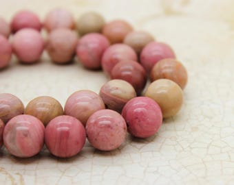 Rhodonite High Quality Smooth Round Natural Gemstone Beads (4mm 6mm 8mm 10mm)