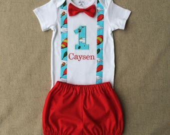 "Dr. Seuss ""Oh, The Places You'll Go"" First Birthday Outfit, Oh the Places you'll go first birthday onesie and diaper cover"