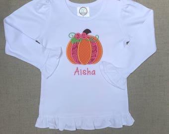 Girly Pumpkin Shirt, Pumpkin Ruffle Shirt, Pumpkin Top