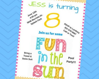 Fun in the Sun Pool Party Birthday Invite