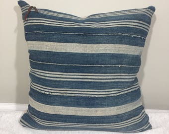 Indigo Chunky Stripe Pillow with Taupe Knit Backing {M} -insert included-