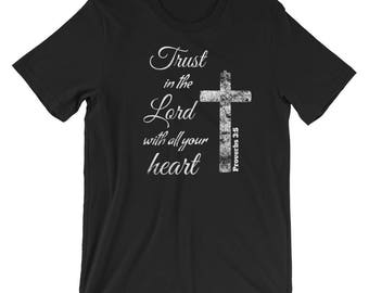 Trust in the Lord with Heart Christian T-Shirt Proverbs 3:5