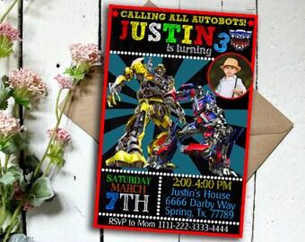 Transformer Invitation, Transformer Birthday Invitation, Transformer Party Invitation, Transformer, Invitation, Chalboard, printable invite