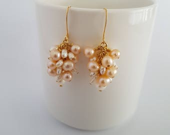 Pink and white cultured pearls, wire wrapped, gold plated cluster, earrings