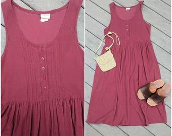 90's Vintage Corduroy Maroon Bib Dress || Jumper, S/M