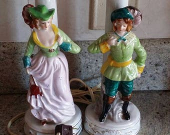 Pair of Vintage Occupied Japan Victorian/Colonial Figurine Lamps (BOTH WORK)