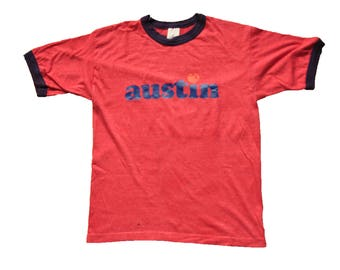 """Vintage 1977 """"Heart in Austin"""" Tee // M // Made in USA // Texas // ATX // SXSW // South By Southwest // Ringer // Red // 70s //"""