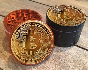 Bitcoin Billionaire Baller 4 part custom herb grinder. Full color 3d imprint. Not a sticker. Smoke and grind along with your cryptocurrency.