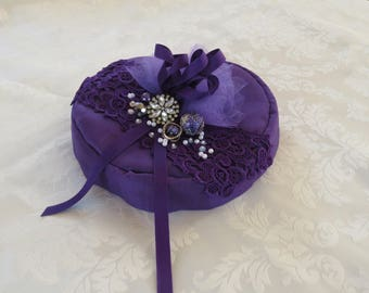 Purple hat with lace