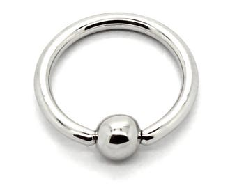 """925 Sterling Silver Captive Belly Ring 16 Gauge By 3/8"""" in Diameter with 4mm Ball"""