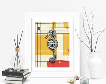 Modern Retro Wall Art - Seahorse Art Print - Marine Life Art - Ocean Art Work - Seahorse Print - Home Decor - Wall Hanging - Wall Art