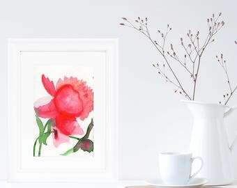 Original Watercolor Painting on Paper, Peony Flowers, Peony Baby Nursery Wall Art, Peony Watercolor Painting, Peony Decor, Peony Gifts