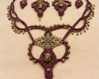 Macramé Buddha necklace + earrings set