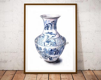 Asian ginger jars, Ginger jar print, print of my original Jar watercolor painting