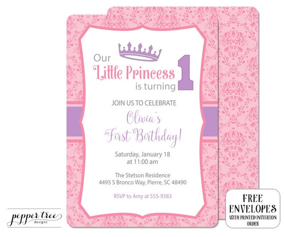 First Birthday Invitation For Girl Little Princess Is Turning 1