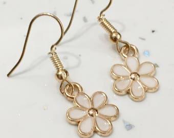 White & Gold Flower Hook/Dangly Earrings/Dainty Earrings