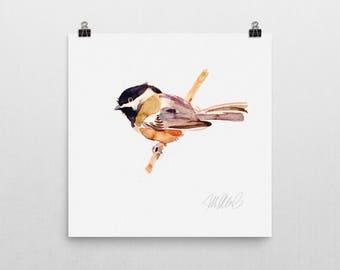 Premium giclee print, Chickadee print