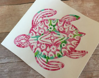 Sea Turtle Decal, Sticker, Pink Roses