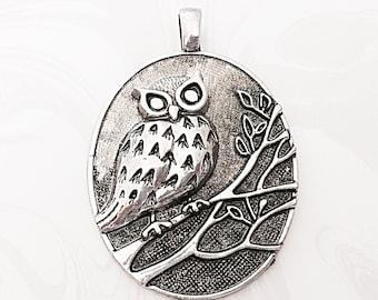 Owl Pendant, Large Owl Pendant, Animal, Silver Owl, Oval Pendant, 66mm x 47mm,