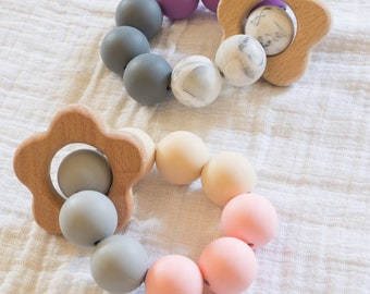 hand held flower silicone and wood teether