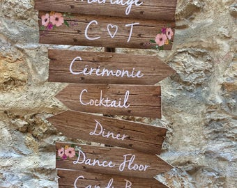 Directional sign for wedding and holidays