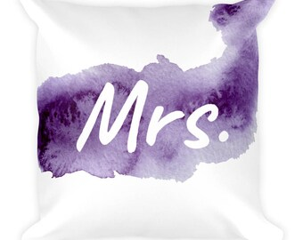 Square Pillow Mrs Pillow Her Pillow Matching Wedding His Hers Wedding Pillows Purple Watercolor Valentine's Day Gift for Her includes Insert