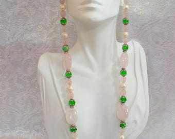 Pink Rose Quartz, Crystal and Freshwater Pearl Necklace