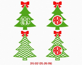 Christmas tree monogram with bow SVG, monogram Christmas SVG Cutting File Svg, CriCut Files svg jpg png dxf Silhouette cameo