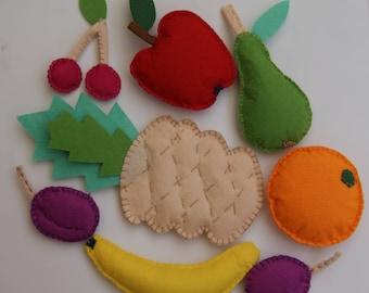 Felt fruit set. Felt food. Felt play food. Play food Felt toys. Toy food. Play kitchen. Play kitchen accessories. Gift for children.