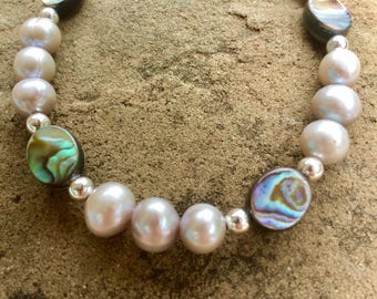 Pearl and Abalone ankle bracelet