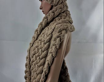 scarf hand knitted in wool, wool scarf handmade, scarf, warm scarf, Brown scarf, scarf, wool, France