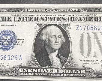 paper money Silver Certificate One Dollar 1928B Funny Back Note Blue Seal United States