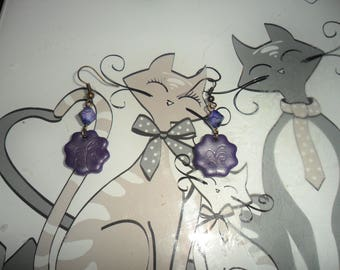 Earrings flower with Pearl violete tréfilée bicone purple