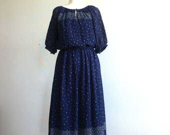 1970 navy blue white dot  elegant dress with belt