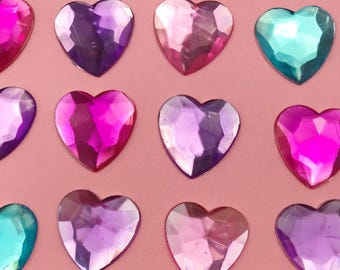Crystal Hearts Charm/Cabohcon/Resin
