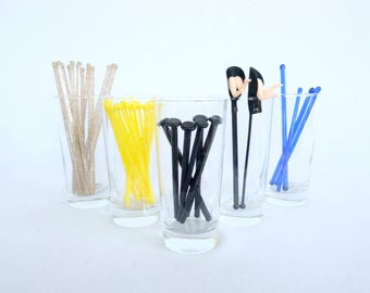Mid Century Modern Glass and Plastic Muddler and Swizzle Sticks: 1940 – 1960