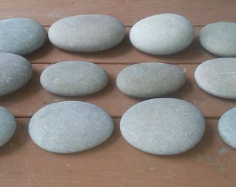 "12 Large Smooth Beach Stones 4"" - 6"" Painting Stones"