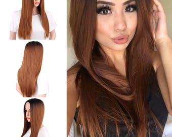 """26"""" Long Straight Ombre Black and Brown Straight Synthetic Hair Wig// Heat Resistant Fiber Synthetic Wigs For Women"""