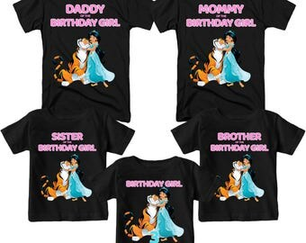 Princess Jasmine Birthday T-Shirt Custom  Name and Age Personalized Aladdin Family Birthday T-Shirt