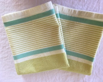 "Retro-look 100% cotton Moda towels 16"" x 26""//kitchen towels//tea towels//teal lime green stripe//hostess gift//housewarming gift"