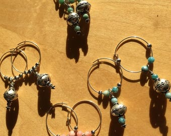 Silver hoop earrings with silver and natural stone beads