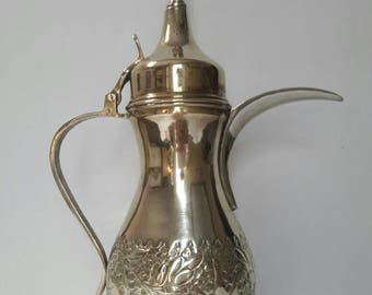 Antique brass Arabic coffee urn with beautiful detailing and pointed lid, marked, coffee carafe, brass pitcher