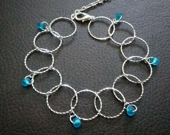Handmade delicate ring bracelet with blue bead charms