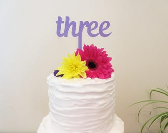 Three Cake Topper For 3rd Birthday Laset Cut Purple Tinted Acrylic