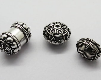 Sterling Silver Beads Mix Lot 3 Pieces