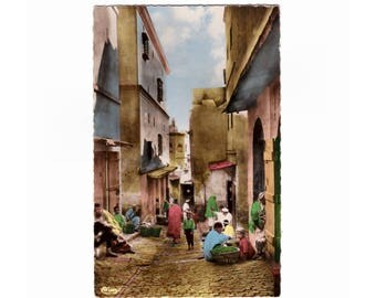 ALGERIA: Beautifully hand-colored Real Photo Postcard of A Street of the Casbah, Alger - Vintage French Postcard