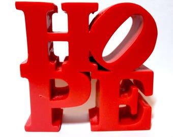 Handmade HOPE LOVE Sign Cake Topper Figurine Robert Indiana Philadelphia NYC