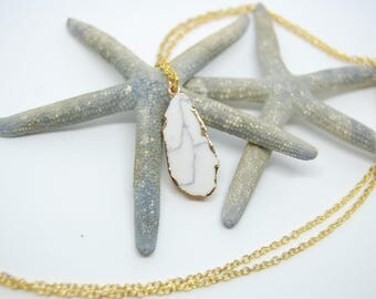 White natural stone pendant necklace, gold plated chain