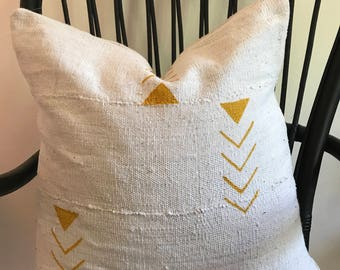 African Mustard Mudcloth Pillow