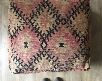 Moroccan Vintage Pouf, Floor Cushion, Floor Pouf, Vintage Pouf, Floor Pillow